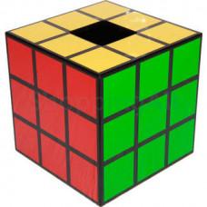 Rubik kocka mintás zsebkendőtartó doboz, 14,6 cm, fekete